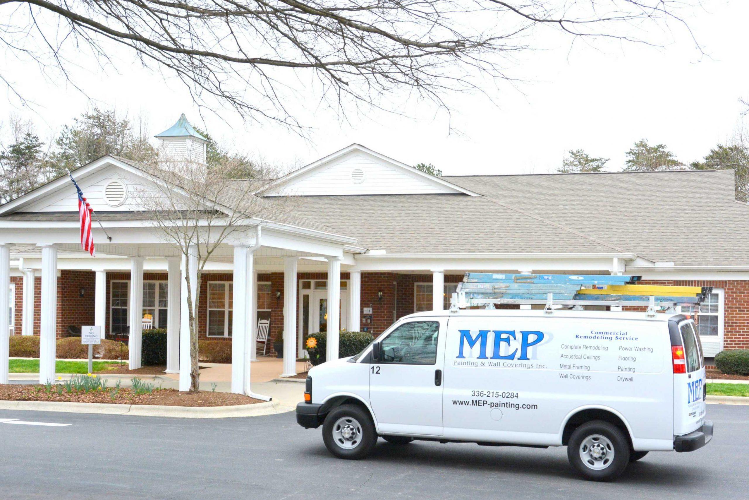 Retirement Home Remodel Contractors visit senior living facilities in MEP company van