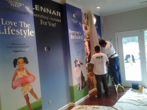 MEP Painting expert construction contractors installing mural wallpaper