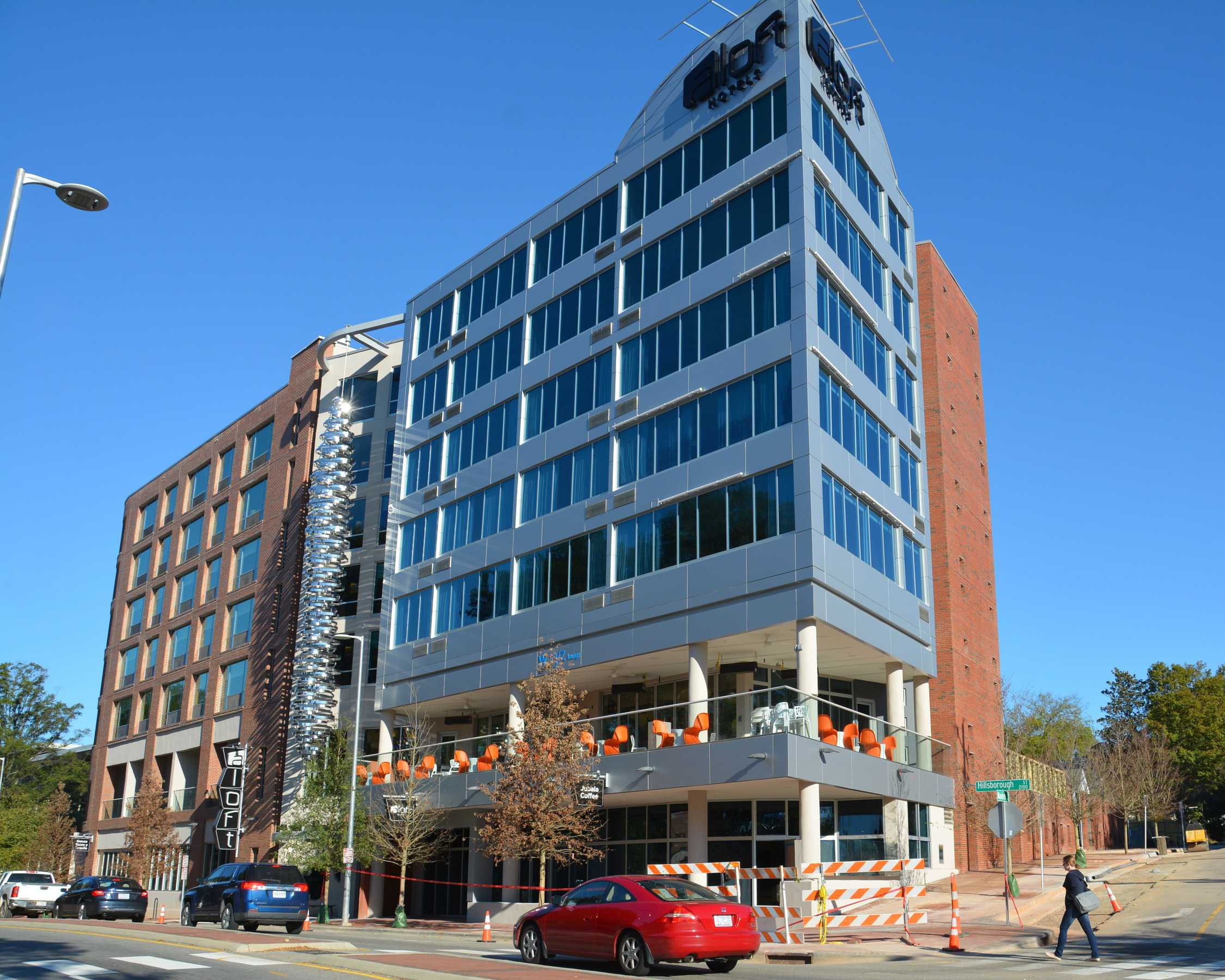 completed new hotel construction on Aloft Hotel Raleigh, NC - MEP Construction Contractors finished project front view