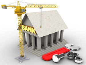 commercial contractor infographic of bank construction with with crane