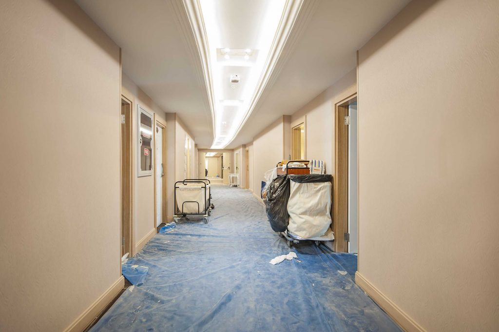 hallway under construction in VA hotel refurbishment project