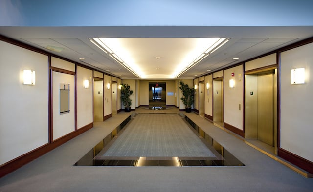 beautiful carpet in commercial property refurbishment in elevator hallway