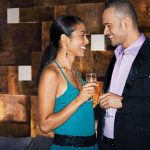 modern restaurant wall coverings background with young dating couple image